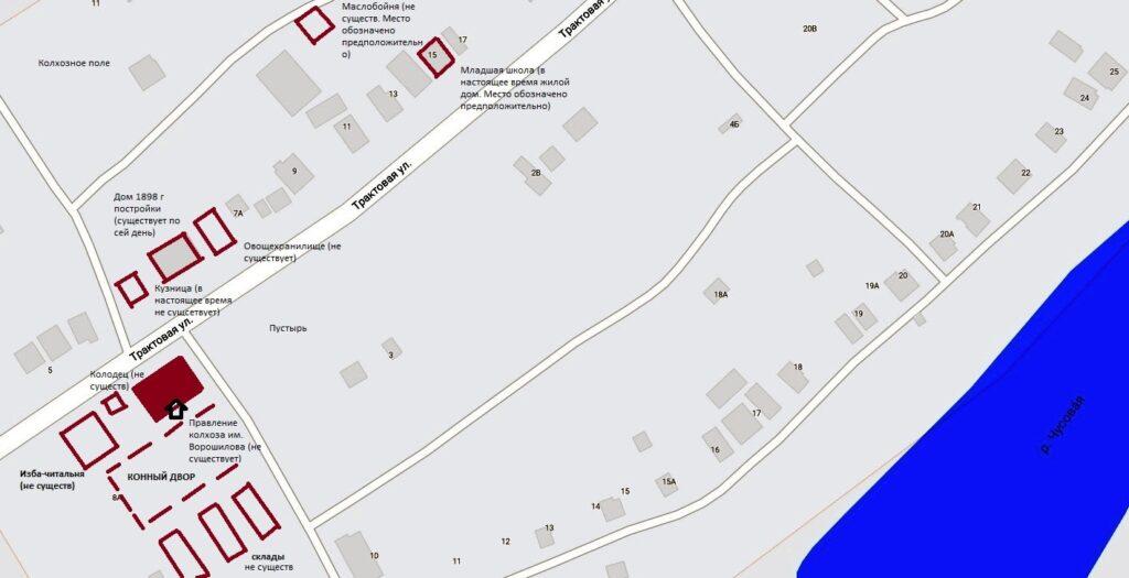 Схема расположения зданий колхоза им. К.Е. Ворошилова в деревне Извездная